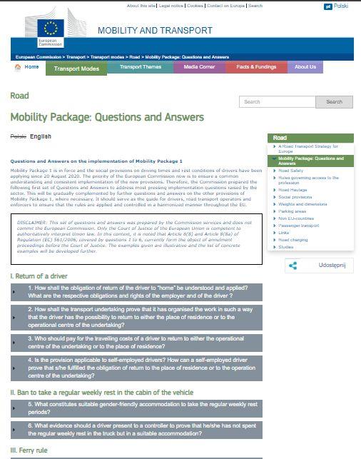 pytania i odpowiedzi pakiet mobilności