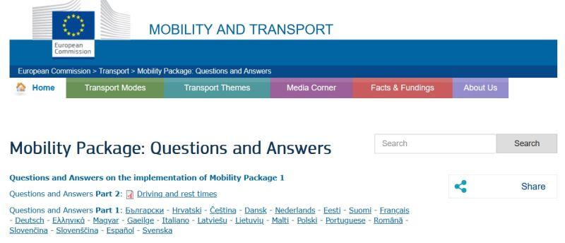 Pakiet mobilności, przepisy